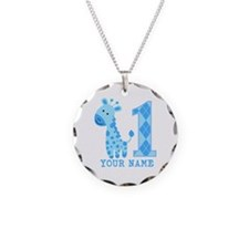Blue Giraffe First Birthday Necklace Circle Charm