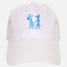Blue Giraffe First Birthday Baseball Baseball Cap