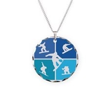 snowboarding3 Necklace Circle Charm
