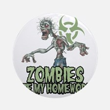 Zombies-Ate-Homework Round Ornament