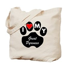 I Heart My Great Pyrenees Tote Bag