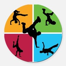 breakdance8 Round Car Magnet