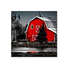 "SQUARE SPECTACULAR RED BARN Square Sticker 3"" x 3"""