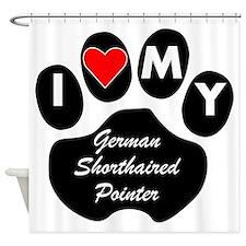 I Heart My German Shorthaired Pointer Shower Curta