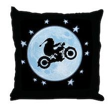 santa-moon-bike-CRD Throw Pillow