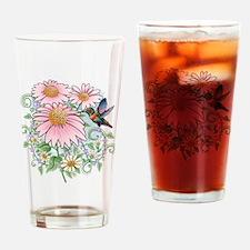 humbrd_floral11x11 Drinking Glass