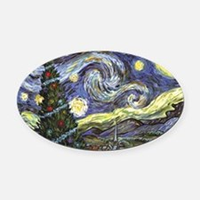 Starry Night/ Peace on Earth Oval Car Magnet