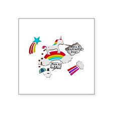 Unicorn And Penguin Craptastic Day Square Sticker