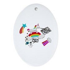 Unicorn And Penguin Craptastic Day Ornament (Oval)