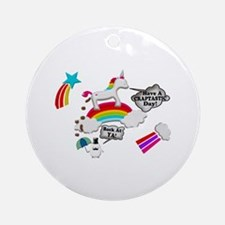 Unicorn And Penguin Craptastic Day Ornament (Round