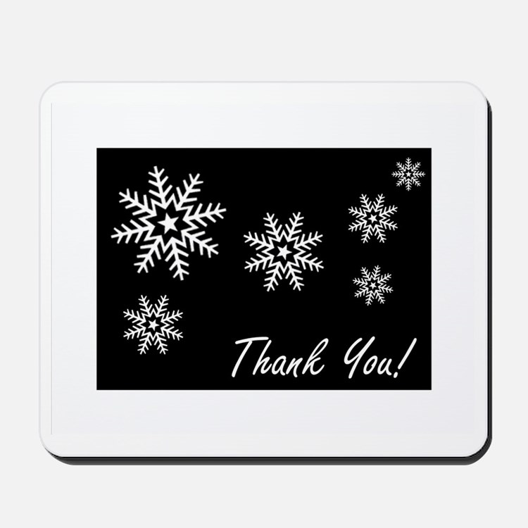 thank you note cards snowflakes blk and  Mousepad