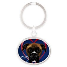 My Boxer Dog Completes Me_pillow Oval Keychain