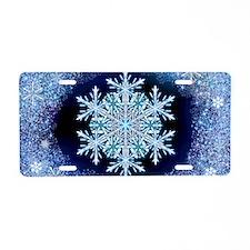 December Snowflake - wide Aluminum License Plate