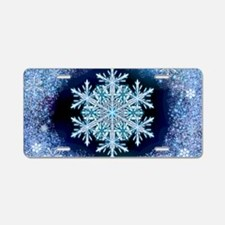 December Snowflake - wide Aluminum License Plate