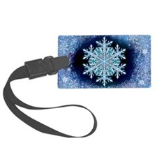 December Snowflake - wide Luggage Tag
