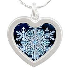 December Snowflake - greetin Silver Heart Necklace
