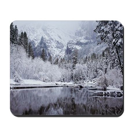 Wintry Cathedral Beach, Yosemite Nationa Mousepad
