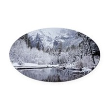 Wintry Cathedral Beach, Yosemite N Oval Car Magnet