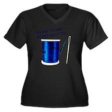 Thread_You_W Women's Plus Size Dark V-Neck T-Shirt