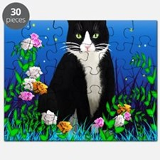 Tuxedo Cat among the Flowers Puzzle
