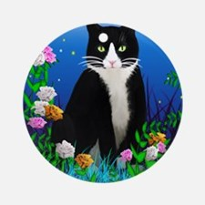 Tuxedo Cat among the Flowers Round Ornament
