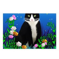 Tuxedo Cat among the Flow Postcards (Package of 8)