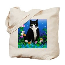 Tuxedo Cat among the Flowers Tote Bag