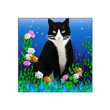"Tuxedo Cat among the Flower Square Sticker 3"" x 3"""