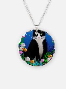 Tuxedo Cat among the Flowers Necklace