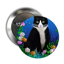 """Tuxedo Cat among the Flowers 2.25"""" Button"""