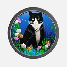 Tuxedo Cat among the Flowers Wall Clock