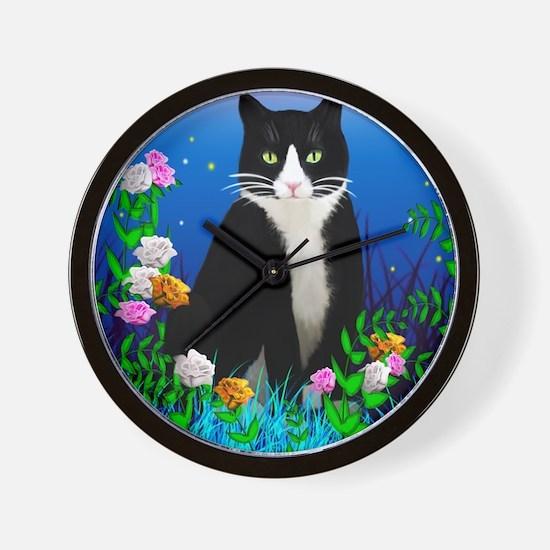 Tuxedo Cat among the Flowers Wall Clock