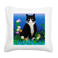 Tuxedo Cat among the Flowers Square Canvas Pillow