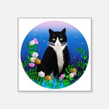 "Tuxedo Cat among the Flower Square Sticker 3"" x 3"""