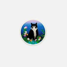 Tuxedo Cat among the Flowers Mini Button