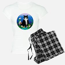 Tuxedo Cat among the Flower Pajamas