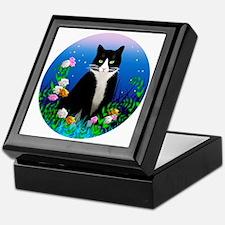 Tuxedo Cat among the Flowers Keepsake Box