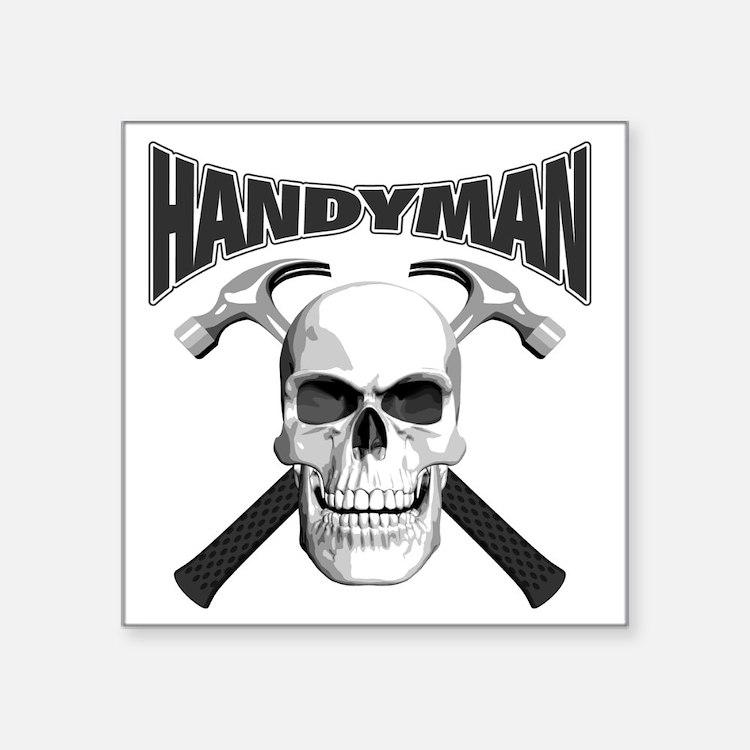 "handyman_skull Square Sticker 3"" x 3"""