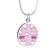 softball Silver Round Necklace