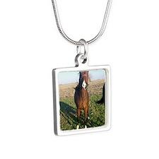 2yo colt Silver Square Necklace