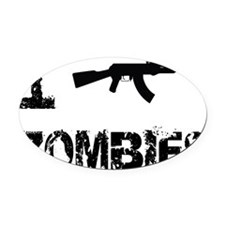 I Shoot Zombies Oval Car Magnet