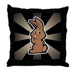 Cute Brown Bunny Cartoon Throw Pillow