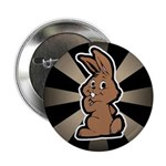 Cute Brown Bunny Cartoon Button