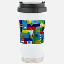 Fused Glass Collage Stainless Steel Travel Mug