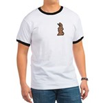 Cute Brown Bunny Cartoon Ringer T