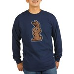 Cute Brown Bunny Cartoon Long Sleeve Dark T-Shirt