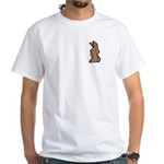 Cute Brown Bunny Cartoon White T-Shirt