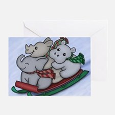 eleph rhino hippo sled with frame Greeting Card