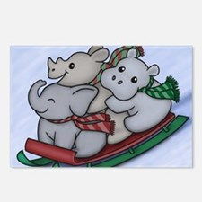 eleph rhino hippo sled wi Postcards (Package of 8)