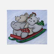 eleph rhino hippo sled with frame Throw Blanket